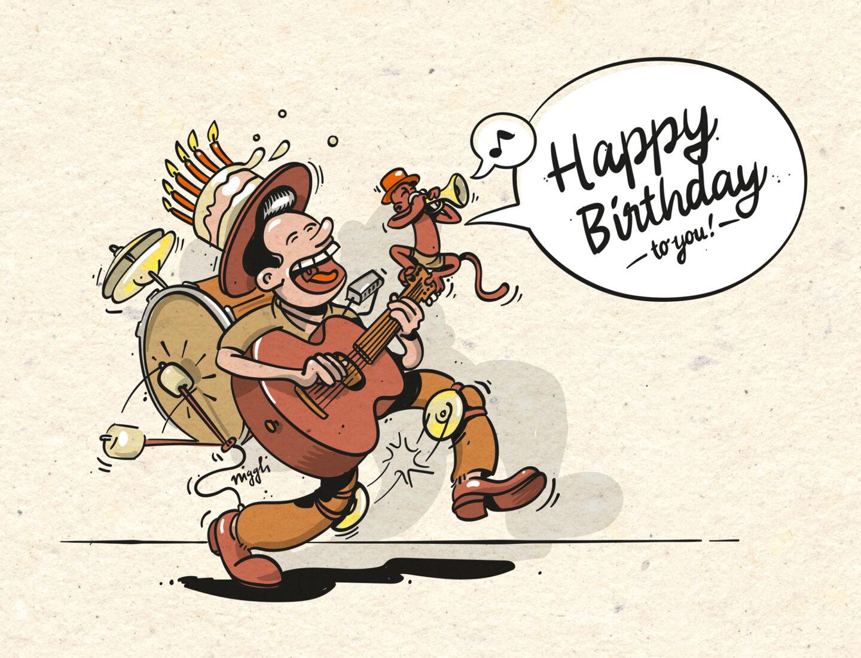 Referenz Illustration Rocket Happy Birthday